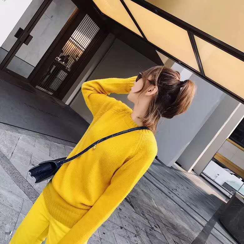 Small Fresh Yellow Sweater Women Pullover Sweet Long Sleeve Joker Slim Wool Sweater Base Tide Autumn Winter Turtleneck Sweater