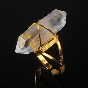 100-уникаль, 1 шт., светло-желтое золото, цветной провод, покрытый камнями, Кварцевая точка, камень, кольцо с регулируемым размером, ювелирных и...