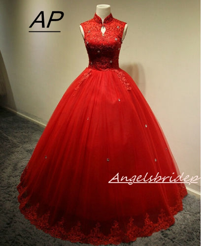 ANGELSBRIDEP Sweet 16 Ball Gown Quinceanera Dresses 2019 Fashion High Neck Tulle Appliques Floor Length Formal