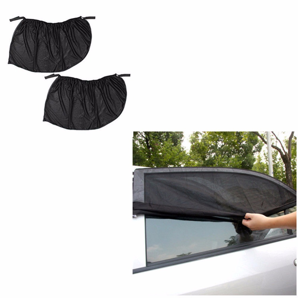 2PCS Large Car Kids Sun Shade Shield Socks Rear Side Window Large Cover UV Mesh