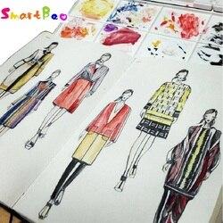 A5 Fashion Designer Notebook Marcatore Sketchbook linea Tratteggiata Corpo Cartelle di Lavoro Del Progettista Notebook 82 Lenzuola Abito di Carta