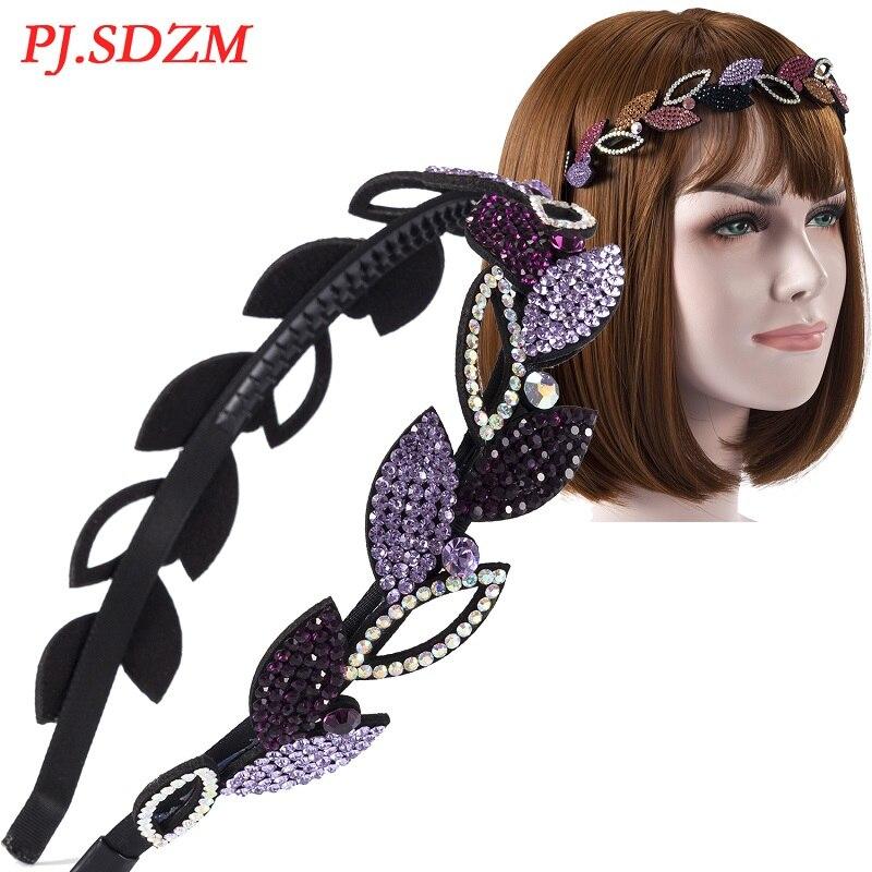 PJ. SDZM 10 teile/los Blatt Muster Voller Kristall Frauen Hairband Strass Haar-accessoire mit Zähne Mode Trend Weibliche Stirnband