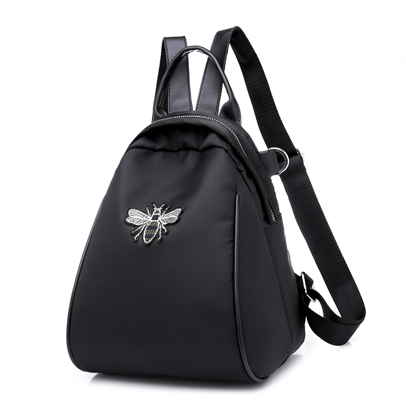 Solid Color Bee Decoration Women Backpack Brand Quality Youth Teenage Girls School Bag Female Shoulder Bags Nylon And PU Fabrics tegaote new design women backpack bags fashion mini bag with monkey chain nylon school bag for teenage girls women shoulder bags