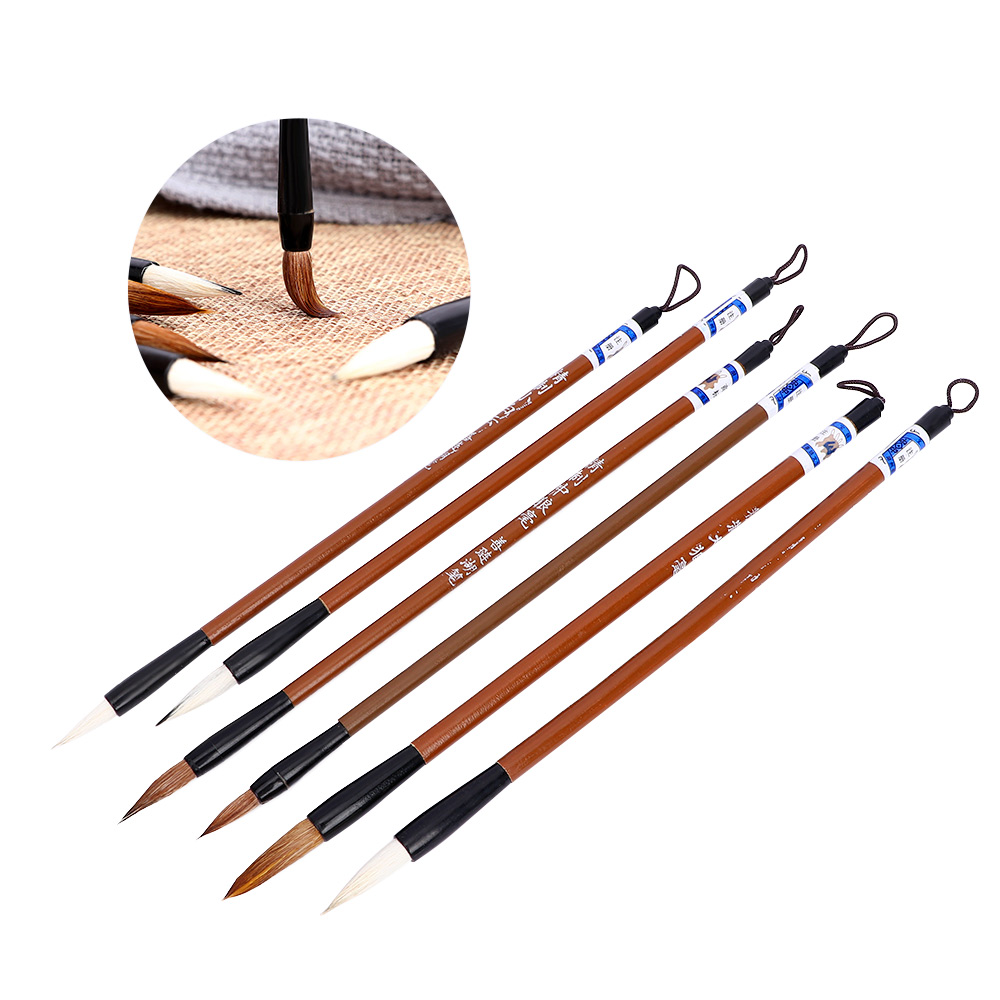 6pcs Traditional Chinese Writing Brush White Clouds Bamboo Wolf's Hair For Calligraphy Painting Practice Writing Tool