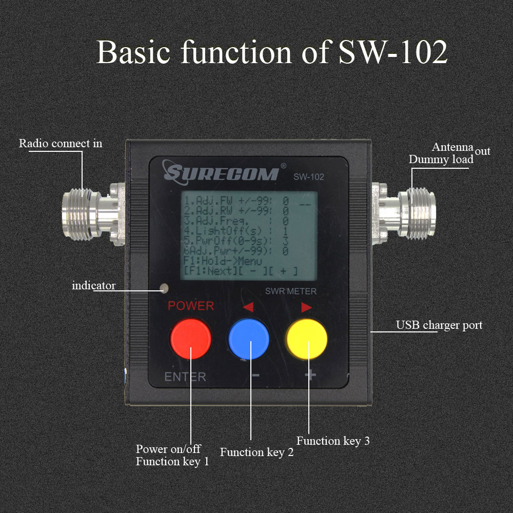 SURECOM SW-102 With Three Adaptor 125-520Mhz Digital UV Power&SWR Meter For Car Radio and Portable radio SW102
