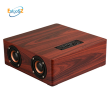 EStgoSZ Wooden Wireless Bluetooth Speaker Stereo Sound System Support TF Card Aux Soundbar Home Theater TV PC Computer speaker