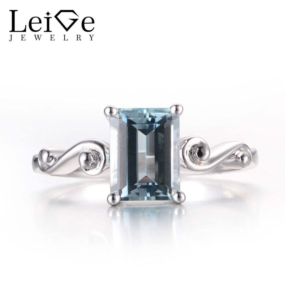 Leige Jewelry Unique Engagement Rings Natural Aquamarine Rings March Birthstone Blue Gemstone Solid 925 Sterling Silver for HerLeige Jewelry Unique Engagement Rings Natural Aquamarine Rings March Birthstone Blue Gemstone Solid 925 Sterling Silver for Her