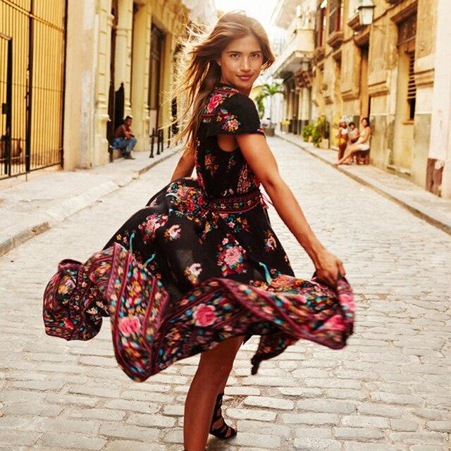 BellFlower Summer Boho Dress Etehnic Sexy Print Retro Vintage Dress Tassel Beach Dress Bohemian Hippie Dress Robe Vstidos Mujer