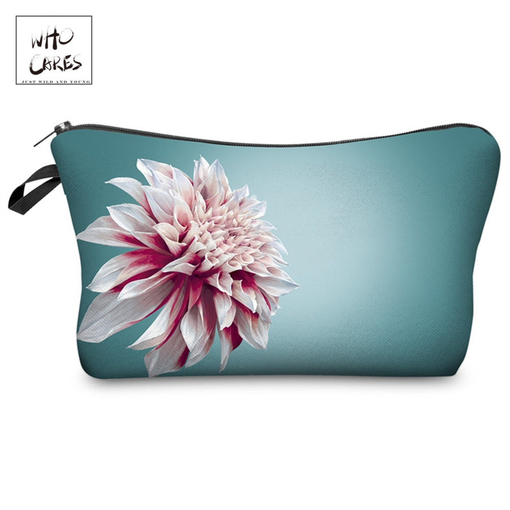 Who Cares Flower 3D Printing With Multicolor Pattern Makeup Bags With Zipper Travel Ladies Pouch Women Cosmetic Bag