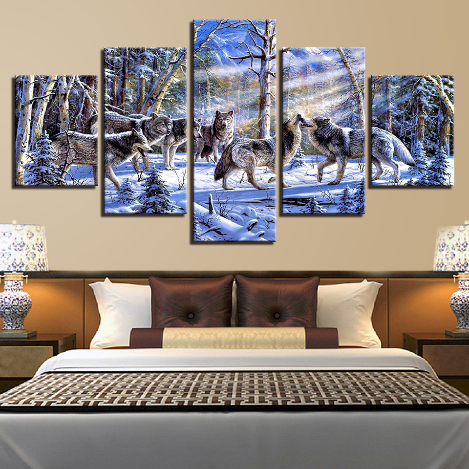Animal Print Tiger Bear Lion Cat Canvas Paintings Poster Wall Print Canvas 5 Panel Home Decorations Living Room Abstract 255