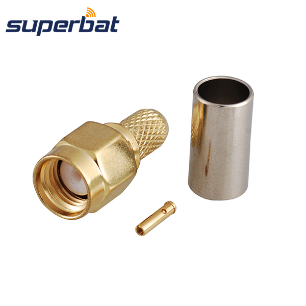 Superbat RP-SMA Crimp Plug Male (female Pin) Straight For RG59, LMR200 Cable RF Coax Connector