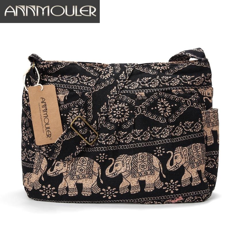 Annmouler Large Women Shoulder Bag Cotton Fabric Crossbody Bag Tribal Elephant Print Hobo Bag Soft Adjustable Messenger Bag