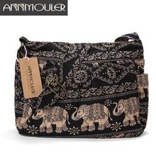 fc502b02bc Annmouler grand sac à bandoulière femme en tissu de coton sac à bandoulière  Tribal imprimé éléphant