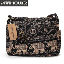 Annmouler bolsa feminina estilo carteiro, bolsa de algodão, grande, de ombro, estampa de elefante, macia e ajustável, bolsa de mensageiro