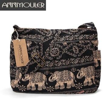 Annmouler Large Women Shoulder Bag Cotton Fabric Crossbody Bag Tribal Elephant Print Hobo Bag Soft Adjustable Messenger Bag  shoulder bag