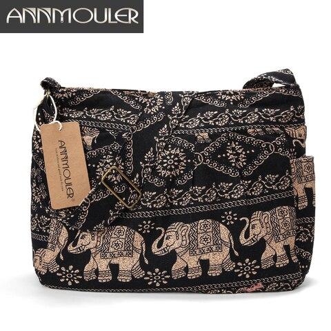 Tecido de Algodão Bolsa de Ombro das Mulheres Bolsa do Mensageiro Annmouler Grande Crossbody Bag Tribal Elephant Imprimir Hobo Bag Macio Ajustável
