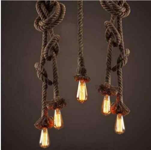 Retro Vintage Corda Lampada Luce Del Pendente Loft Personalità Creativa Lampada Industriale Edison Lampadina in Stile Americano Per Soggiorno
