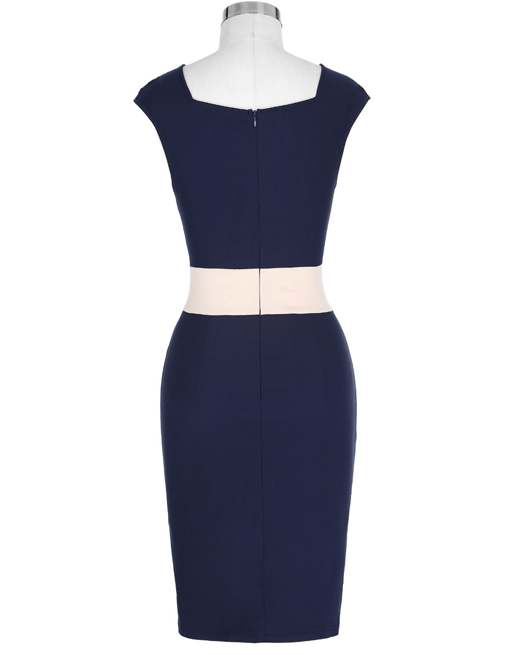 Retro Vintage Sleeveless Crew Neck 2017 Sexy Hollowed Back Cotton Navy Blue Party Dresses Vestidos Casual Office Bodycon Dress 9