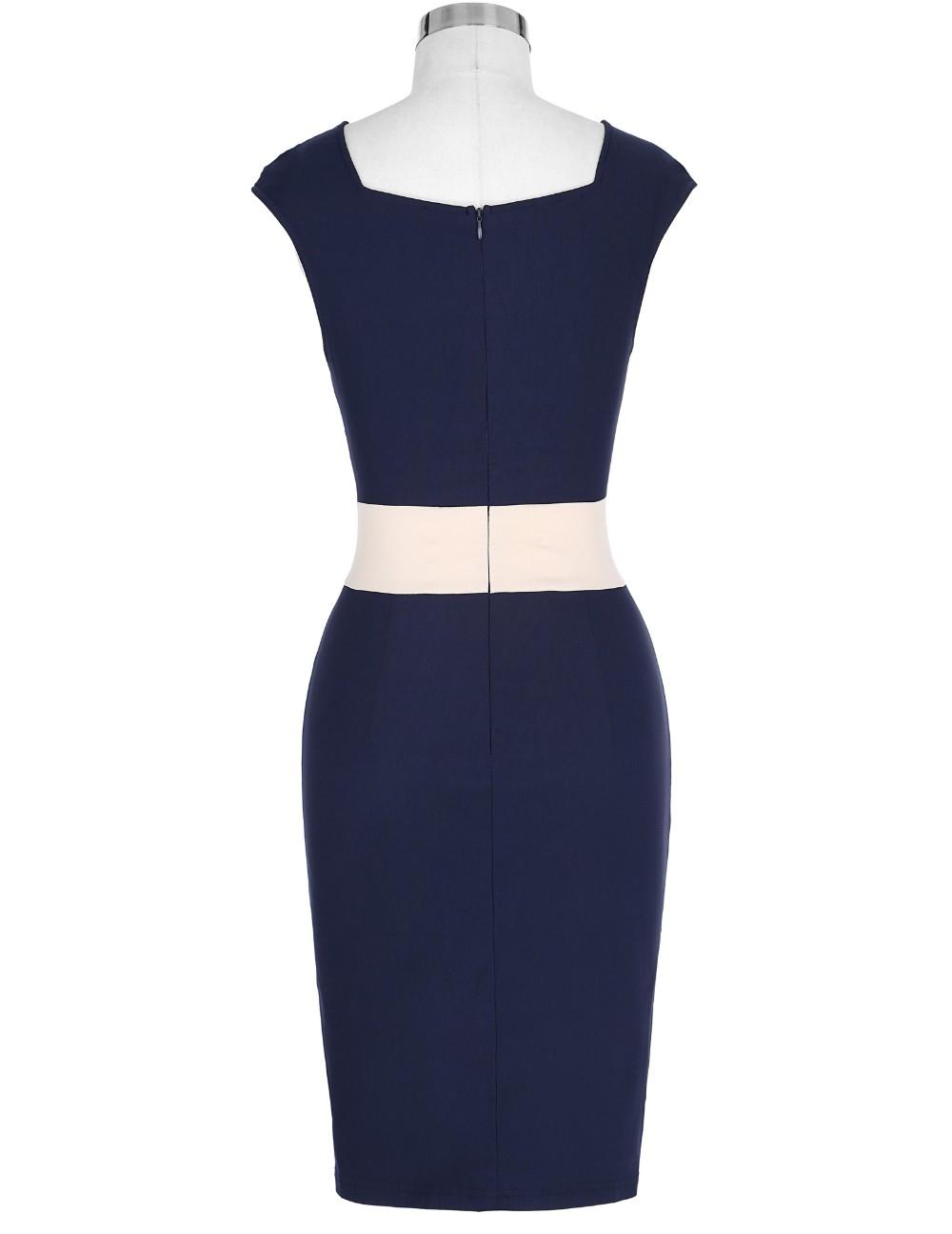 Retro Vintage Sleeveless Crew Neck 2017 Sexy Hollowed Back Cotton Navy Blue Party Dresses Vestidos Casual Office Bodycon Dress 9