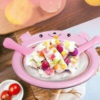 Mini Ice Cream Maker Pan Cartoon DIY Ice Cream Maker Fried Yogurt Machine With Shovel Ice Cream Roll Machine For Kids