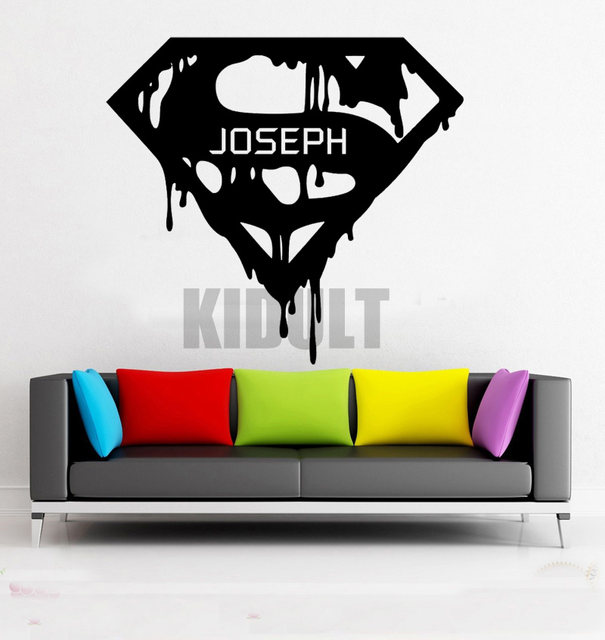 Creative Wall Decals Superhero Superman DC Comics Scarlet Flag Pattern Wall  Stickers Vinyl Stickers Home Art Deco Mural Room