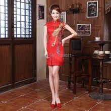Новые Коктейльные Платья Китайский Стиль Красный Невесты Платья Атласная великолепная Рукава Cap Высокая Шея Элегантный Выпускного Вечера Шарика Партии Формальное Dress