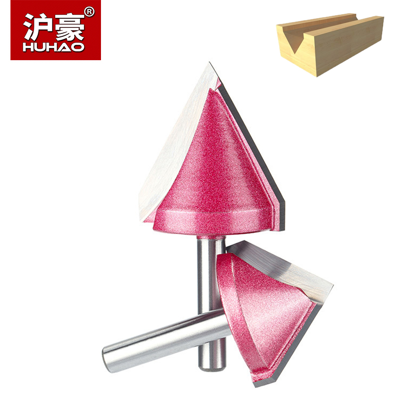 HUHAO 1pc 6mm V Bit CNC Solid Carbide End Mill 3D Router Bits for Wood Tungsten Woodworking MDF Milling Cutter 60 90 120 150 Deg high quality wood milling cutter biscuit jointing router bit carbide tipped 1 2 shank woodworking router bits carbide end mill