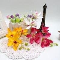 2017 20cm 20set (80flower+20bunch) artificial Silk Lily Bouquet flowers for wedding car home art decoration DIY Flowers