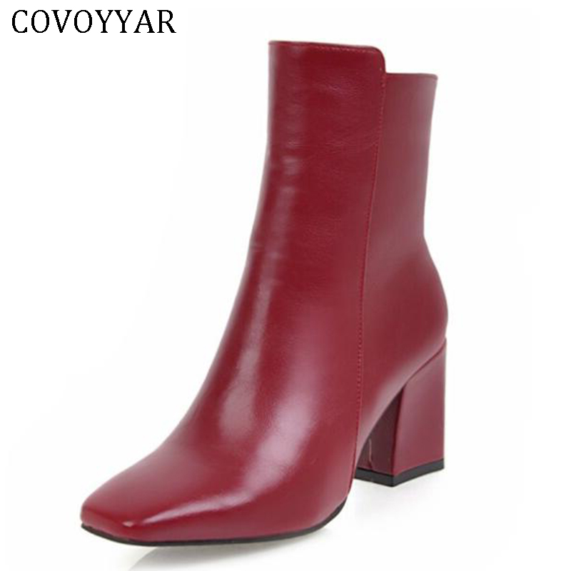 COVOYYAR 2018 Solid Women Ankle Boots Sexy Block High Heel Side Zipper Square Toe Autumn Party Lady Shoes Plus Size WBS408 plus size oblique zipper color block hoodie