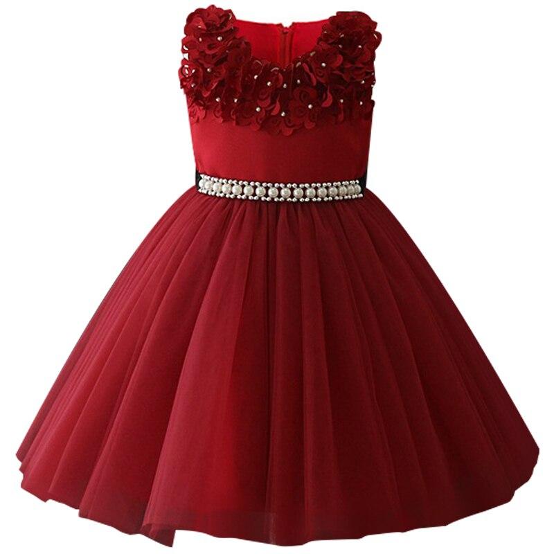 Атласное платье для первого причастия для маленьких детей; блестящее бальное платье; Пышное Платье; Платья с цветочным узором для девочек на свадьбу; платье для банкета сзади - Цвет: wine red