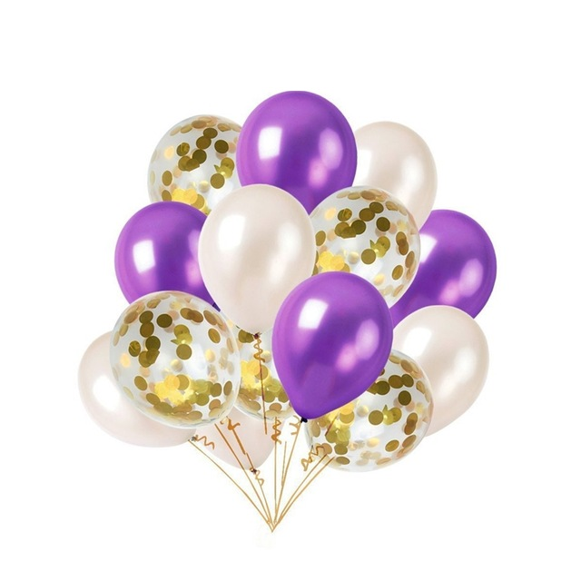 12inch 14pcs Gold Blue Purple Balloon Set Confetti Balloons Bouquet Wedding Bridal Shower Decoration Birthday Baby