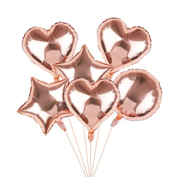 6pcs Baby Shower Globos <font><b>18</b></font> inch white rose gold star helium foil Balloons girl boy Birthday 1st Party Supplies Decor Pure color image