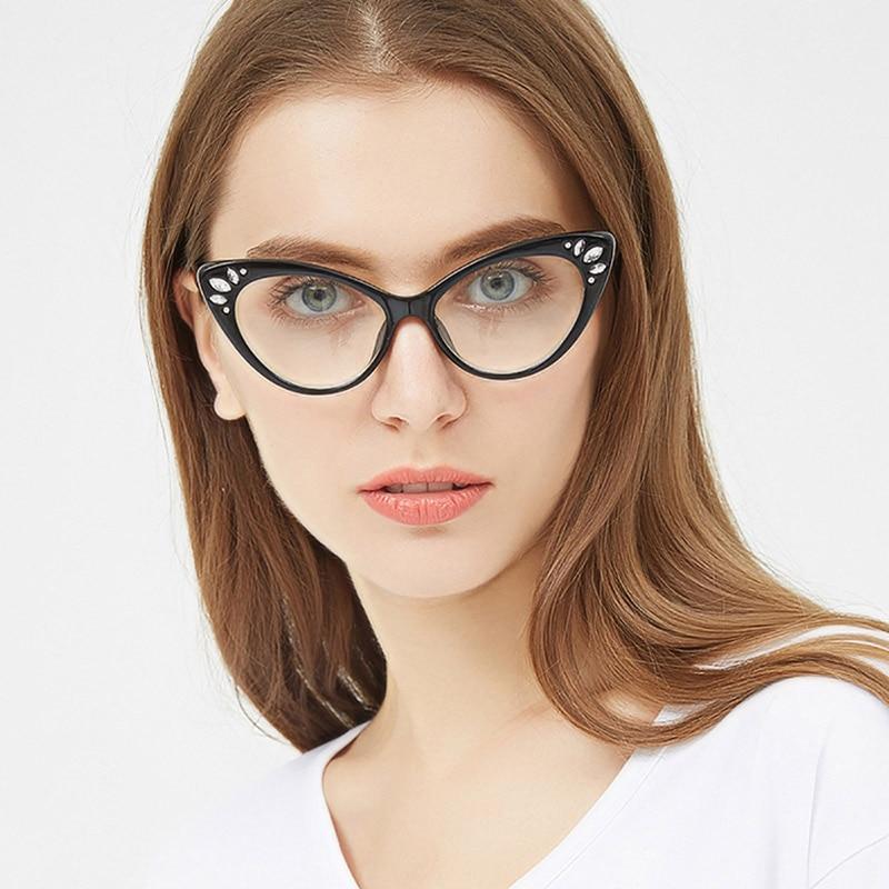 Fashion Woman Acetate Optical Eyeglasses Cat-Eye Women Prescription Glasses Frame Female Colorful Spectacles Brand Designer