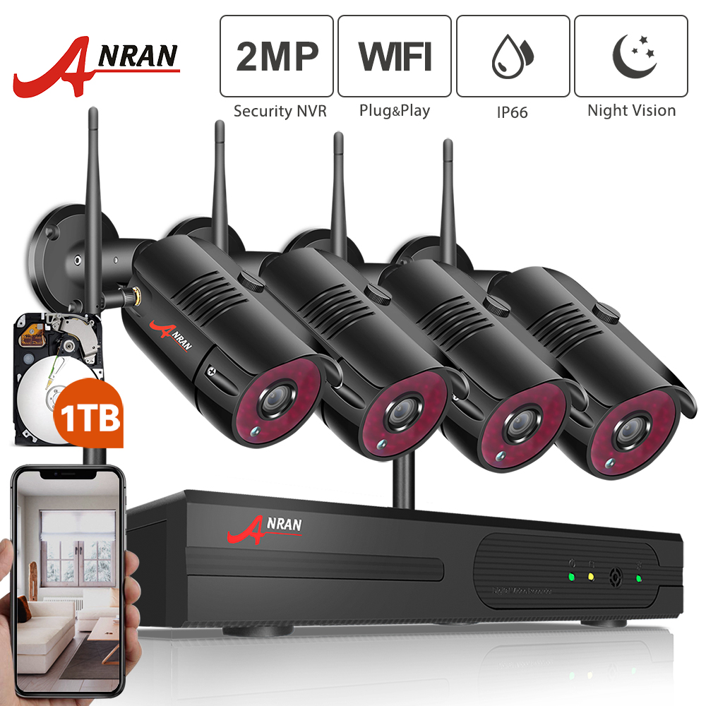 ANRAN 1080P Wireless Security Camera Kit 4CH NVR System Night Vision Outdoor Wifi Surveillance Camera System Cctv Video Kit