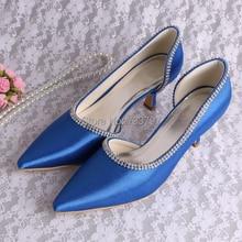 Wedopus Женщины Насосы 2016 Королевский Синий Высокие Ботинки Свадебные Кристалл Алмаза Обувь