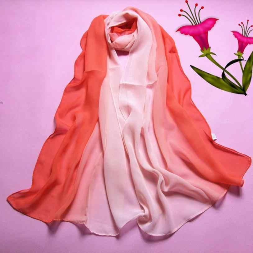 KANCOOLD Khăn Quàng new chất lượng cao Voan Thời Trang Lady Gradient Màu Dài Quấn Khăn Choàng chiếc khăn phụ nữ chiffon jan25
