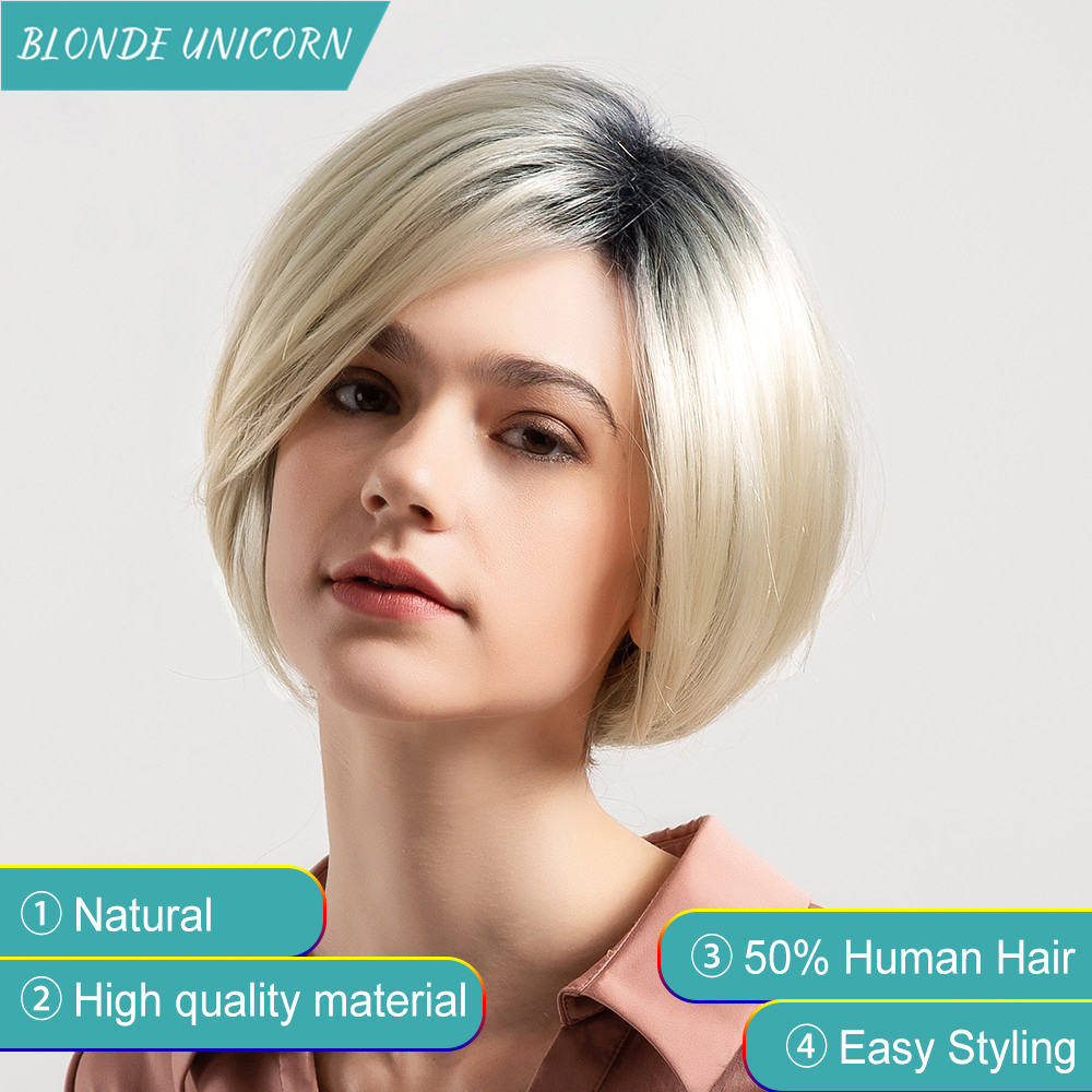 Blonde Unicorn Short Straight Hair Blend Wigs Women'S Bob Style Wig 50% Human hair Synthetic Real Thick Black Brown Blonde Hair