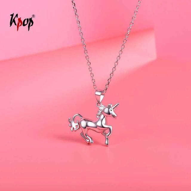 Sterling Silver 925 Unicorn Pendant Necklace rr9sbbZD