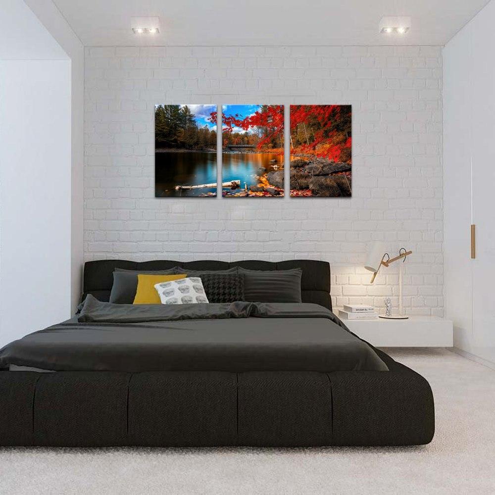 Rouge feuilles d'érable Toile art mural 3 Pièce Automne Paysage Impressions Sur Toile pour décoration d'intérieur Imprimé Sur Toile livraison directe