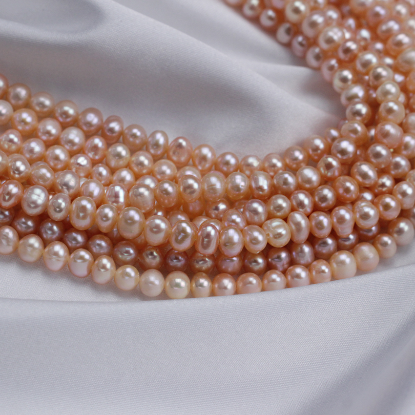 snh 5 strands/package 4-5mm potato white and peach pearl strand wholesale