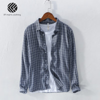 Spring And Autumn Men Fashion Brand Japan Korea Style Cotton Linen Vintage Plaid Long Sleeve Shirt Male Casual Slim Fit Shirts