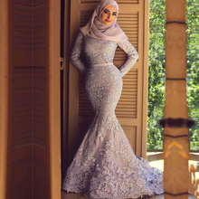 2015 New Designer Lace Muslim Mermaid Wedding Dresses Long Sleeve Sash Zipper Back Appliques Pattern 2015 Hijab Personalized