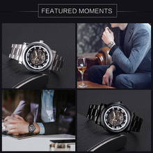Full Stainless Steel Mechanical Watches for Men's WINNER Top Brand Luxury Skeleton Wrist Watches Roman Numerals Fashion Clock