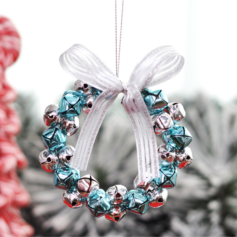 JAVRICK 30 Pcs Christmas Trees Bells Hang Decoration Cross Clear Tone Round Metal Silver for jewelry DIY making