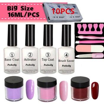 Juego de Kits de herramientas de polvo de inmersión 13 en 1 10 g/caja + 16 ml sellador de Base sin necesidad LED/UV lámpara cura desnudo Rosa esmalte de uñas efecto chapado