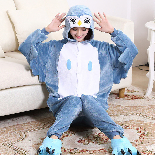 dcb73243721 Owl Kigurumi Animal Shape Jumpsuit For Adult Spring Pajamas Onesie Women  For One-Piece Sleepwear Pyjamas Cosplay Home Party