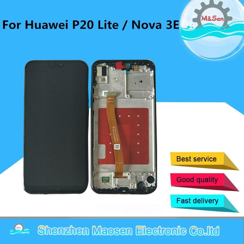 M & sen original para huawei p20 lite/nova 3e display lcd tela + painel de toque digitador com quadro sensor luz proximidade cabo flexível