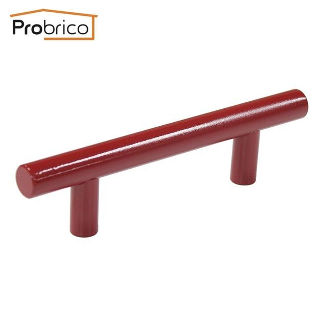 Probrico atacado 100 pcs vermelho de aço inoxidável armário de cozinha do punho buraco em buraco 76mm botão gaveta móveis pd4483hrd76