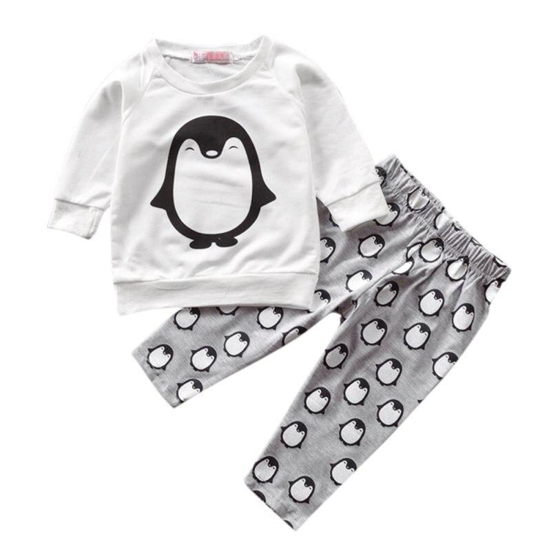 2pcs Newborn Infant Baby Boy Girls Clothes Set Cotton Autumn T-shirt+Pants Cartoon Print Suit Clothing Sets