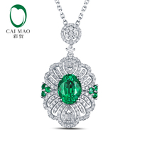 Free Shipping 2 12ct Emerald 14kt White Gold Round Cut Diamonds Pendant For Necklace